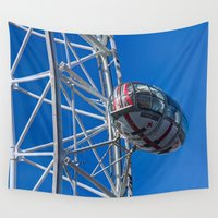 world cup Wall Tapestries featuring The London Eye Rugby World Cup by David Pyatt