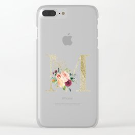 M Monogram Gold Foil Initial with Watercolor Flowers Clear iPhone Case