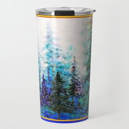 PINE TREES BLUE FOREST  LANDSCAPE TEAL PATTERN Travel Mug