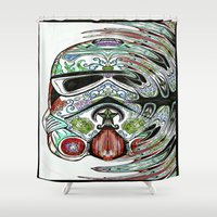 psychadelic Shower Curtains featuring Psychadelic Storm Trooper by Just Bailey Designs .com