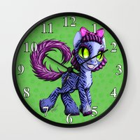 cheshire cat Wall Clocks featuring Cheshire by Jolie Bonnette Art