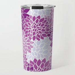 Dahlia Flowers, Petals, Blossoms - Blue Purple Travel Mug