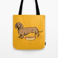 hot dog Tote Bags featuring Hot Dog by Whale Paws