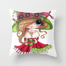 Sherri Baldy My Besties Warm Cupa Hearts Throw Pillow