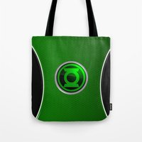 green lantern Tote Bags featuring Green Lantern by Thorin
