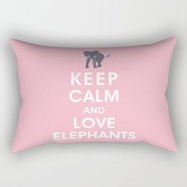 Keep Calm and Love Elephants Rectangular Pillow