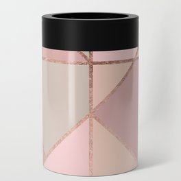 Modern rose gold peach blush pink color block Can Cooler