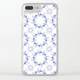 Blue floral ornament on a white background Clear iPhone Case