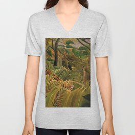 Tiger in a Tropical Storm - Surprised! by Henri Rousseau Unisex V-Neck
