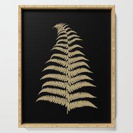Fern Leaf Gold on Black #1 #ornamental #decor #art #society6 Serving Tray