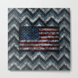 Blue Military Digital Camo Pattern with American Flag Metal Print