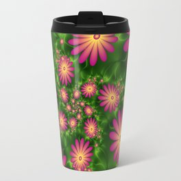 Pink Fantasy Flowers Fractal Travel Mug