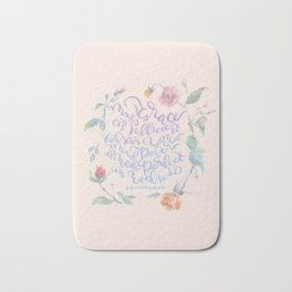 My Grace is Sufficient - 2 Corinthians 12:9 / rose pink Bath Mat