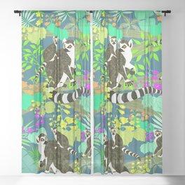Lemur catta Sheer Curtain