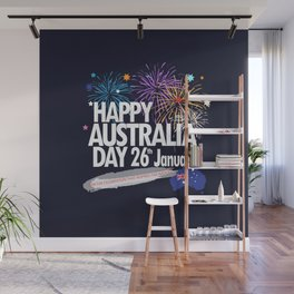 Happy Australia Day 26th January inscription poster with Australian Flag, Australia Map, stars and fireworks. Funny Australia, Patriotic National Holiday Festive Poster for gifts and clothing design. Festival Event decoration. T-Shirt Wall Mural