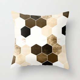 Honeycombs print, sepia colors hexagons with stone effect Throw Pillow