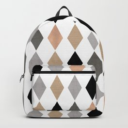 Scandinavian pattern . Grunge. Diamonds . Backpack