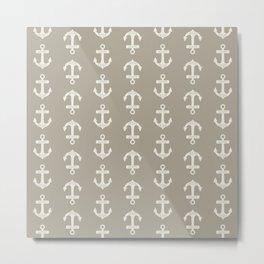 Gray Grey Alabaster Anchors Metal Print