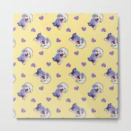 Cute BICHON FRISE Pattern on Pale Yellow Metal Print