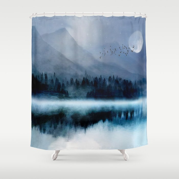 Mountainscape Under The Moonlight Shower Curtain