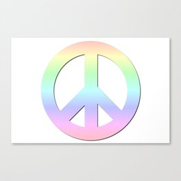 CND Peace Symbol Soft Pastel Rainbow Canvas Print