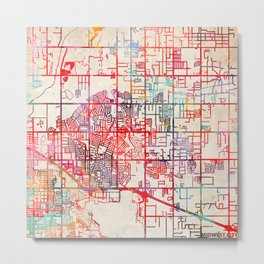 Midwest City map Oklahoma OK Metal Print