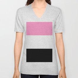 Just three colors 3 pink,white,black Unisex V-Neck