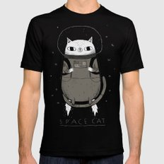space cat MEDIUM Black Mens Fitted Tee