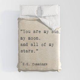 EE Cummings, Sun Moon Stars Quote, Love Duvet Cover