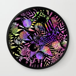 Geometric Retro Neon Watercolor Black Drawn Shapes Wall Clock