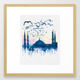 Istanbul in Watercolor Framed Art Print