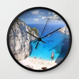 Beach sea tourists Zaykanthos Island Greece Ionian Sea Wall Clock