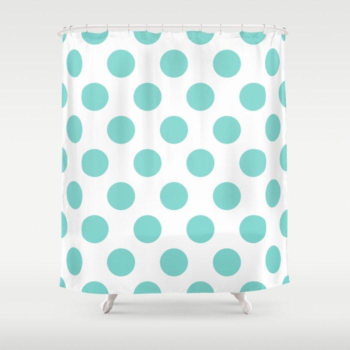 Tiffany Blue Polka Dots Shower Curtain