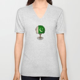 Vintage Tree of Life with Flag of Pakistan Unisex V-Neck