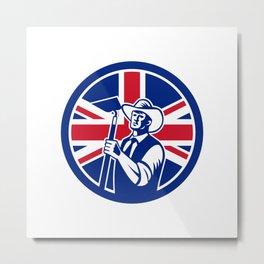 British Organic Farmer Union Jack Flag Icon Metal Print