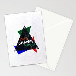 Make Change Happen (green&blue&orange) Stationery Cards