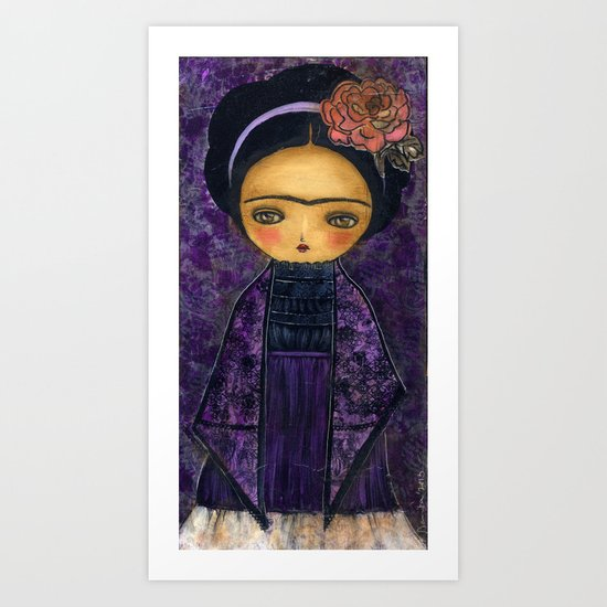 Frida In A Violet And Purple Dress Art Print