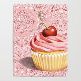 Pink Cupcake Paisley Bandana Poster