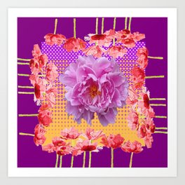 PINK PEONY SPRING RED FLOWER PURPLE GARDEN Art Print