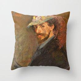Self-portrait with flowered hat - James Sidney Edouard Baron Ensor Throw Pillow