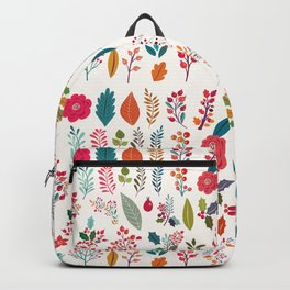 Colorful fall orange pink ivory holly berries floral Backpack