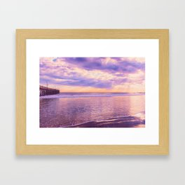 Solace by Sunset Cayucos pier and beach Framed Art Print