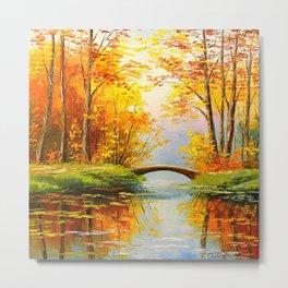 Bridge in the autumn forest Metal Print