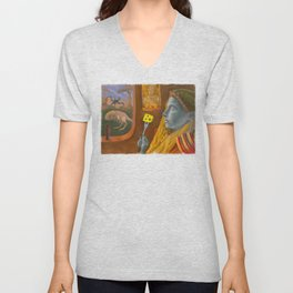 Dream caused by the flight of a cliff racer around a guar a second before awakening Unisex V-Neck
