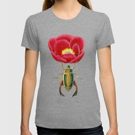 Red Peony and beautiful Beatle T-shirt