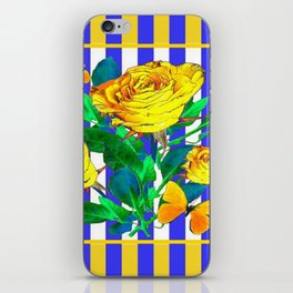 YELLOW SPRING ROSES & BUTTERFLIES WITH LILAC STRIPES iPhone Skin