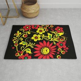 Black floral hohloma Rug