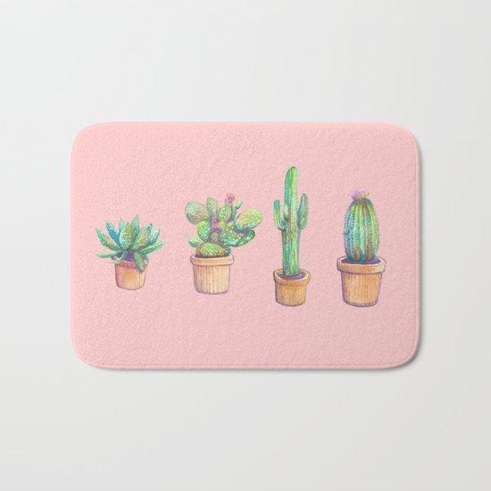 pink four cactus Bath Mat