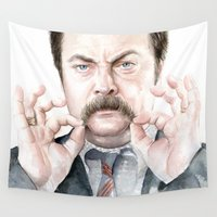 mustache Wall Tapestries featuring Swanson Mustache by Olechka