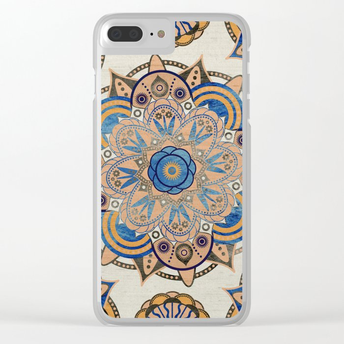 Blue and Gold Mandala Clear iPhone Case